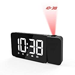 TPSKY Projection Alarm Clock Dual Alarm with USB Charging Port Hygrometer Tempmeter with FM Function Dimmable LCD Display Radio Controlled Projection Alarm Clock