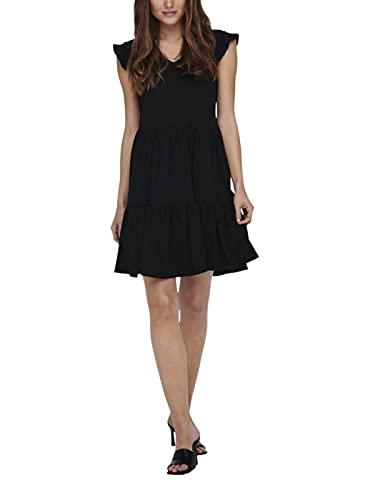 Only ONLMAY Life Cap Sleeves Frill Dress JRS Vestido, Negro, XL para Mujer