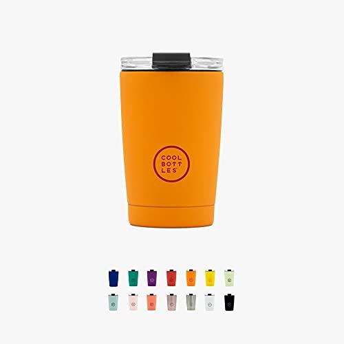 Cool Bottles - Tumbler - Vaso Térmico de Acero Inoxidable - 330 ml - Vivid Orange - Taza de Café - Altura 14 cm - Bebidas frías 16 horas y calientes 8 horas - Tapa Hermética - Libre de BPA
