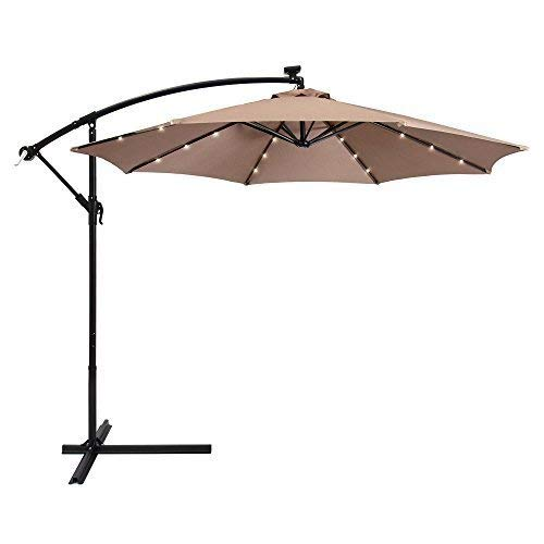 Best Choice Products 10ft Solar LED Offset Hanging Polyester Market Patio Umbrella w/Steel Frame and Easy Tilt Adjustment, Tan
