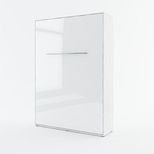 Schrankbett Concept PRO Vertical, Wandklappbett, Bettschrank, Wandbett, Schrank mit integriertem Klappbett, Funktionsbett (140 x 200 cm, Weiß/Weiß Hochglanz)
