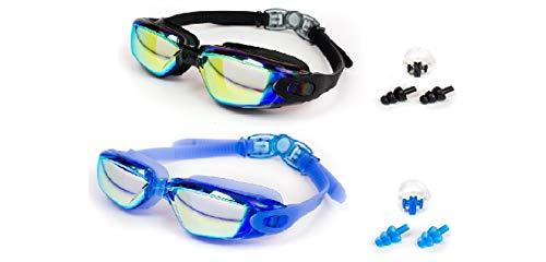 OTTER Easy Fit Triathlon Swim Goggles, Swimming Goggles Anti Fog Shatterproof UV Protection (Blue and Black)