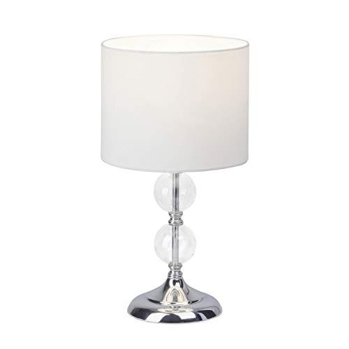 Brilliant 94861/05 Rom Lampe à Poser, Métal/Verre/Textile, E27, 60 W, Chrome/Blanc