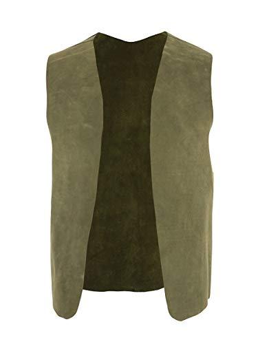 Andracor - Handgefertigte Lederweste aus hochwertigem Velourleder- Kostüm-Zubehör für LARP, Mittelalter, Cosplay, Western & Fantasy - Farbe: grün - Größe: M-L