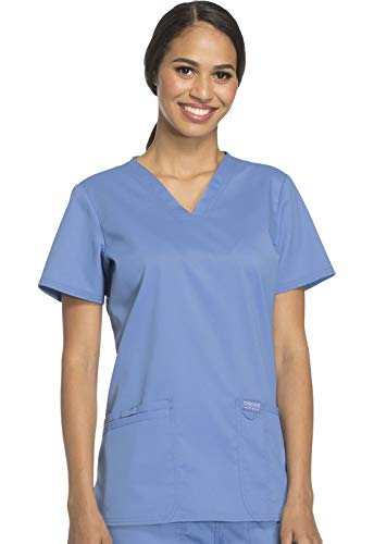CHEROKEE Women's V-Neck Top, Ciel Blue, Large