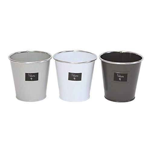 Juego de 3 macetas de metal para hierbas aromáticas de cocina, hierbas de jardín, plantas de cocina, macetero, alféizar de ventana, de metal, 3 colores, 13 x 13 cm