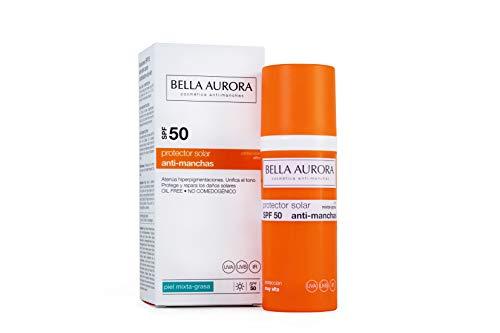 Bella Aurora Protector Solar 50 Facial Anti-Manchas Piel Mixta Grasa, 50 ml | Crema Protección del Sol Cara | Bloqueador Solar ✅