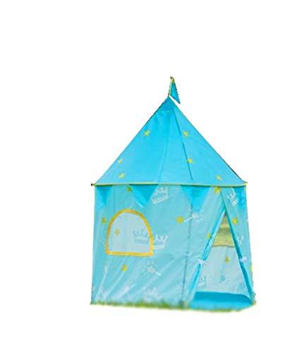 CSQ Tienda de campaña cubierta, Juego de las muchachas de la princesa Casa de niños del juguete Casa plegable tela de tienda corona de la estrella Modelo de la tienda Castillo Azul Rosa Casa de juegos