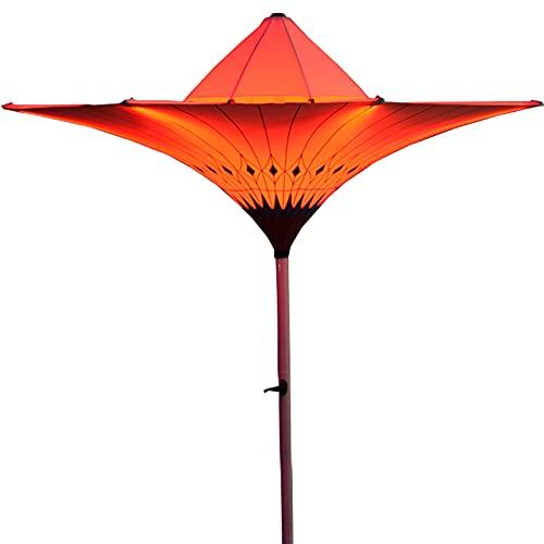 0℃ Outdoor Sombrilla de Playa 350cm Parasol Protección Solar Exterior Patio Jardín Terraza Marquesina Refugio con Lámparas de Luz de Colores Automáticas y Protección UV para Patio, Piscina y Playa