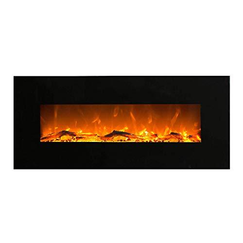 GLOW FIRE Elektrokamin mit Heizung, Wandkamin mit LED | zuschaltbarer Heizlüfter mit 750 oder 1500 W | Fernbedienung (Größe L - 128 cm, Schwarz)