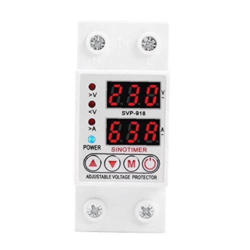 Voltage Protector SVP-918 Verstelbare automatische zelfherstel onder spanning Beschermende inrichting 40A Wit, beschermingsschakelaar