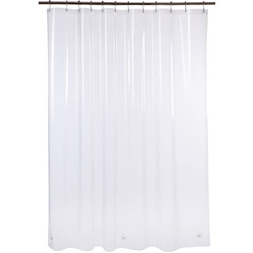 AmazerBath Plastic Shower Curtain, 72 x 84 Inches EVA 8G Thick Bathroom Plastic Shower Curtains with Heavy Duty Clear Stones and 12 Grommet Holes-Clear