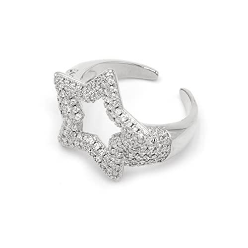 Colours & Beauty - Anillo de mujer con cristales de circonita cúbica, ajustable, anillo de compromiso para mujer, con circonitas Estrella de plata