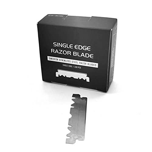 DRXX Cuchillas de Afeitar de un Solo Filo para Cuchillas de Afeitar Profesionales Rectas de Peluquero, Paquete de 100