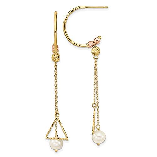 Pendientes largos de oro de 14 quilates de dos tonos de corte brillante de 6 mm con perlas cultivadas de Fw de 64,7 x 10,5 joyas regalos para mujeres