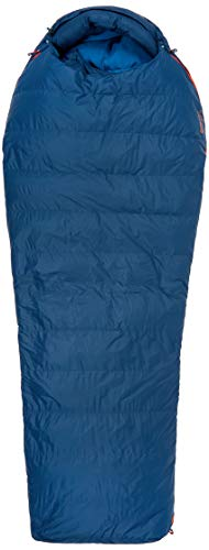 Marmot Yolla Bolly 15, Remplissage en Duvet de Canard 650, très léger et Chaud, Sac de Couchage Grand Froid, idéal pour Camping et Trekking Unisex-Adult, Denim/Atlantic, Short: 168 cm/Left Zipper