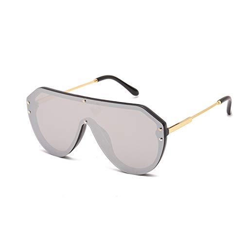 Gafas De Sol Polarizadas De Gran Tamaño, Montura De Plástico De Metal Retro De Moda, Luz De Una Pieza, Adecuada para Deportes De Pesca De Conducción Masculina Y Femenina,Plata