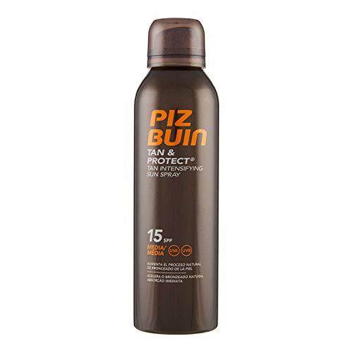 PIZ BUIN, Spray Solare Intensificatore dell'Abbronzatura, Tan & Protect, 15 SPF, Protezione Media, Filtro Solare UVA/UVB, 150ml