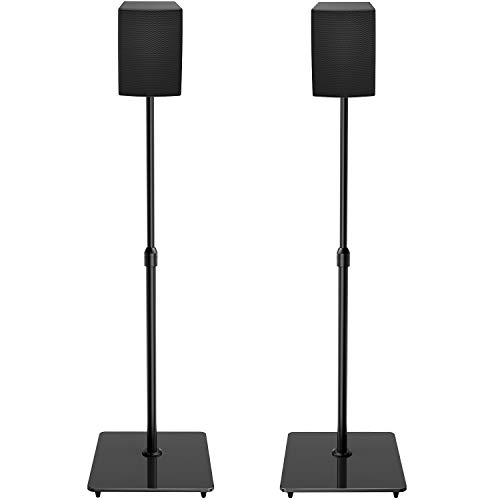 "PERLESMITH Universal Speaker Stands with Tempered Glass Base - 21"" to 38"" Height Adjustable Speaker Stands for Small Bookshelf & Satellite Speakers Weight up to 6lbs - 1 Pair (Model: PSSS4)"