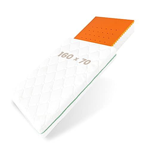 BestCare Visco Materasso Termoelastico per Neonati e Bambini | 160 x 70 x 13 cm| con Memory Foam | 2 lati | Aloe Vera Copri | per un Miglior Comfort del Sonno | Prodotto EU