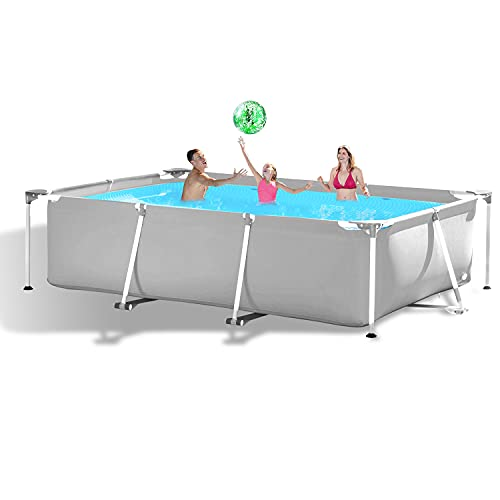 hmercy Above Ground Swimming Pool - 10ft X 6.8ft Outdoor Rectangular Metal Frame Pool for Kids and Adults, Family Swimming Pools Above Ground for Backyard Garden Patio