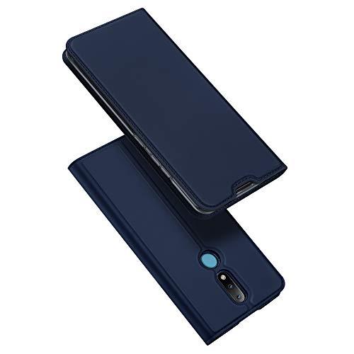 DUX DUCIS Hülle für Nokia 2.4, Leder Klappbar Handyhülle Schutzhülle Tasche Hülle mit [Kartenfach] [Standfunktion] [Magnetisch] für Nokia 2.4 (Blau)