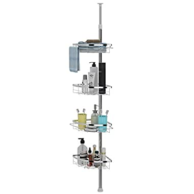 Lifewit Corner Shower Caddy 4 Tier Adjustable Shower Organizer Bathroom Constant Tension Corner Pole Caddy Free Standing Easy Installed Shower Caddies for Shampoo, Soap