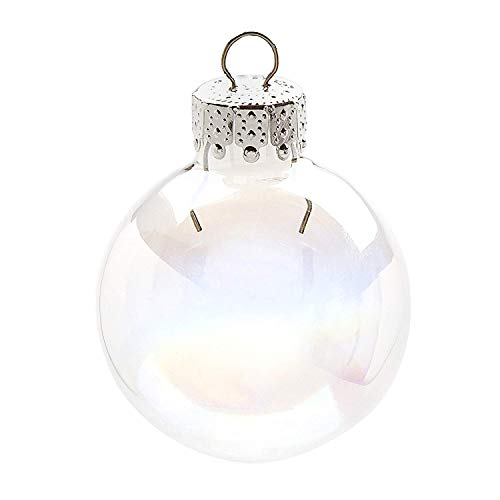 Darice Iridescent, Heavy Duty, Round Glass Balls – Removable Top - Can Be Painted, Embellished and Filled – Make Customized Holiday Ornaments – Perfect for Crafting and Winter Décor, 35mm (20 pieces)