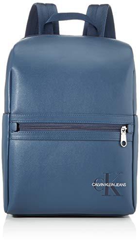 Calvin Klein Herren Smooth Monogram Minimalist Bp 40 Rucksack Blau (Washed Blue)
