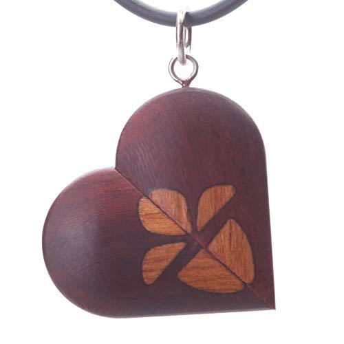 Colgante con forma de corazón con imagen del colgante de encaje ilusionista, regalo de aniversario para ella, mariposa de madera
