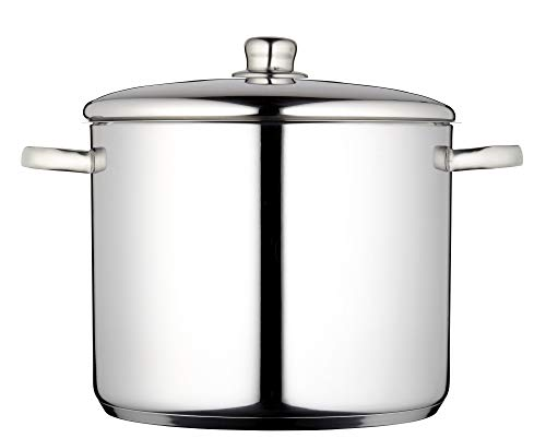 MasterClass Induction-Safe Stainless Steel Stock Pot with Lid, 7 Litres
