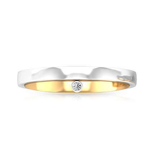 Anillo de compromiso con diamante natural certificado IGI para hombre, antiguo de dos tonos, aniversario de boda, cumpleaños, padre, cumpleaños, eternidad, regalo, 14K Oro blanco, Size:EU 44