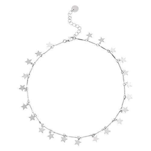 Fenical Collana girocollo di colore argento con catena choker di donne boho per regalo di gioielli da donna