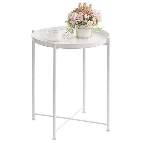Mesa auxiliar con bandeja para sala de estar, marco de metal, redonda, pequeña, mesa auxiliar de café, dormitorio, mesita de noche, color blanco