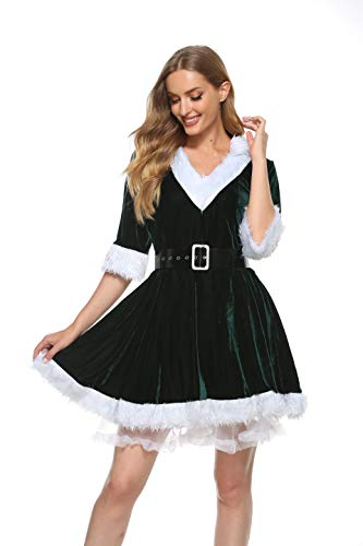 Womens Mrs Santa Claus Costume Fancy Dress Xmas Outfit Velvet Hooded Cosplay Dress (Green, S)