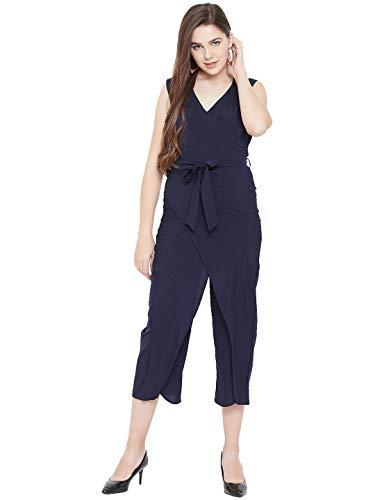 Cottinfab Women Navy Blue Solid Capri Length Jumpsuit