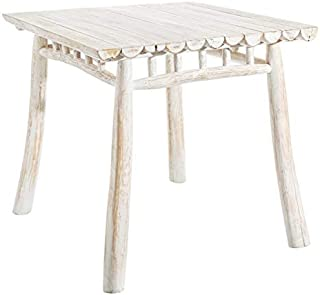 Tousmesmeubles Table de Repas carrée Bois Blanc - Pyla - L 80 x l 80 x H 75 - Neuf