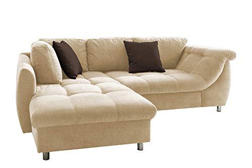 lifestyle4living Ecksofa mit Schlaffunktion in Beige mit großen Rücken-Kissen und Zierkissen, Microfaser-Stoff | Gemütliches L-Sofa mit Longchair im modernen Look