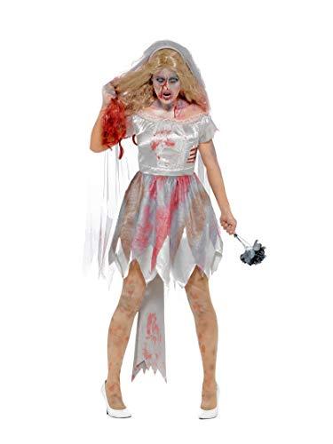 Smiffys Damen Deluxe Zombie Braut Kostüm, Kleid mit Rippenwunde, Schleier und Stauß, Größe: 40-42, 44578