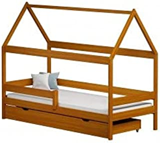 Children's Beds Home - Lit simple en forme de maison - Teddy - Lit simple - Teddy - 200 x 90, aulne, grand lit simple, 12 ...