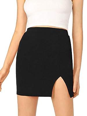 WDIRARA Women's Asymmetrical Solid Overlap Bodycon workear Skirt