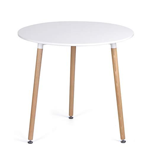 Vittorio meda Tavolo da Pranzo Rotondo Tavolino da Salotto Tavolo Cucina Bianco con 3 Gambe in Legno di Faggio, 80 x 80 x 74.5 cm