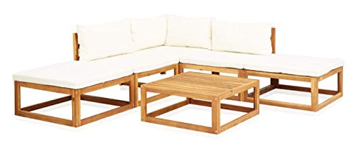 K&A Company Outdoor Furniture Set, 6 Piece Garden Lounge Set with Cushions Solid Acacia Wood