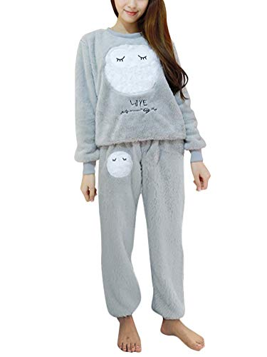 ORANDESIGNE Mujer Otoño Invierno Pijama de Dos Piezas