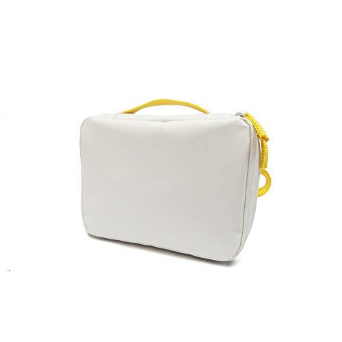 EKOBO toilettas, gebruiksvoorwerpen tas en lunchbag van gerecyclede PET-drinkflessen, wit/lemon, 20 x 15 x 7 cm