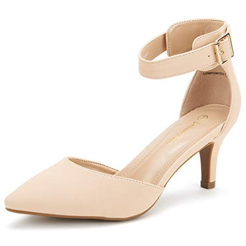 DREAM PAIRS Women's Lowpointed Nude Nubuck Low Heel Dress Pump Shoes - 7.5 M US