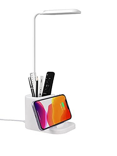 Luminaria de Mesa Articulada Touch Screen LED Flexível Recarregável com Suporte Recarregável sem fio de Celular, Lampada de Iluminação, Abajur