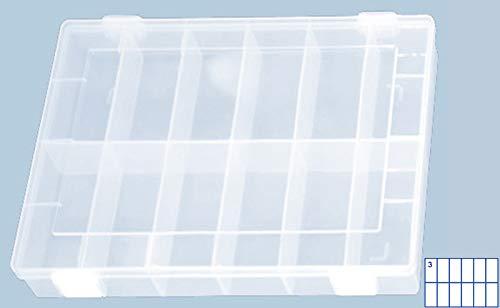 hünersdorff 611400 Sortimentskasten: stabile Sortierbox (PP-Classic) mit fester Fachaufteilung (12 Fächer), Sortierkasten-Maße: T225 x B335 x H55 mm, Made in Germany