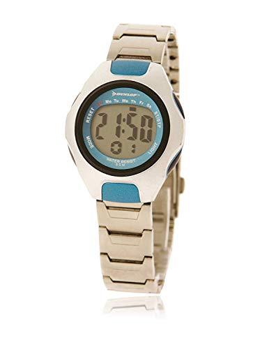 Dunlop Unisex Erwachsene Digital Quarz Uhr mit Edelstahl Armband DUN10M04