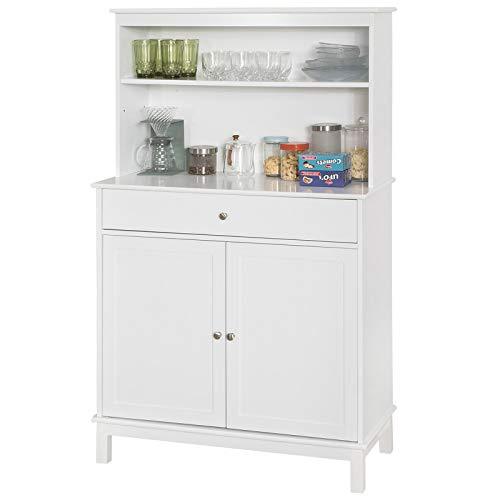 SoBuy FSB26-W Küchenschrank mit Schublade und 2 Türen Küchenregal Sideboard mit 4 Ablagen Buffetschrank Mikrowellenschrank Beistellschrank weiß BHT ca.: 90x148x40cm